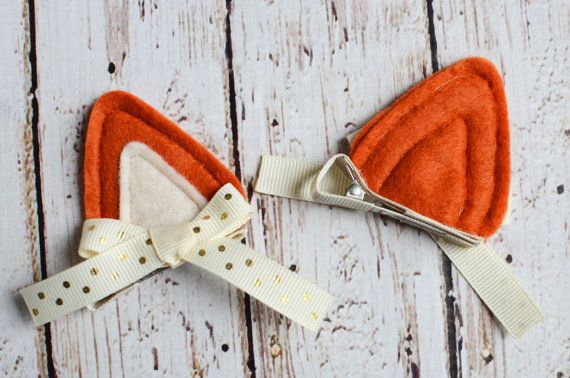 Fox Costume Fox Ears Hair Clips for Fox Halloween by MyPoshDesigns