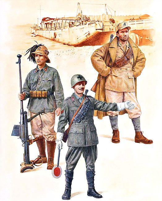 Regio Esercito - Tunisia, 1942-43• Bersagliere del 5º Reggimento Bersaglieri • Cavalleggero, temporaneamente assegnato al controllo del traffico • Sergente dell' 80º Reggimento di Artiglieria