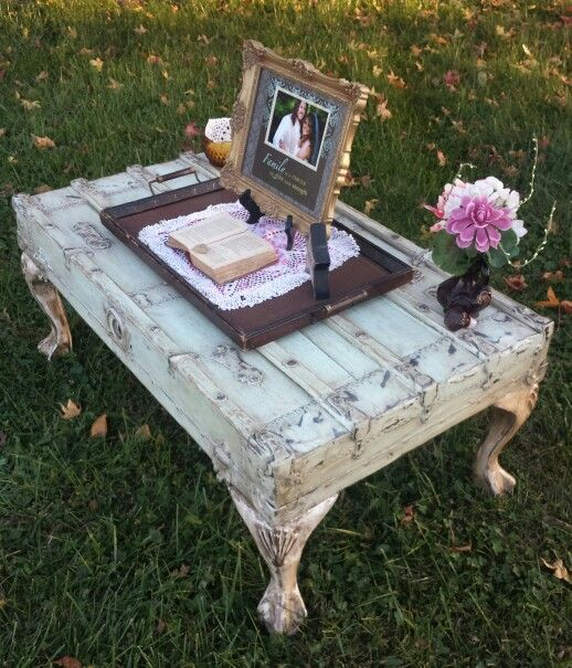 Antique Steamer Trunk Lid Coffee Table done in a Shabby Chic Style painted Mint green, priced at $225. Call us at #rusticdecorandmore 812-830-2820, located in Vincennes Indiana.
