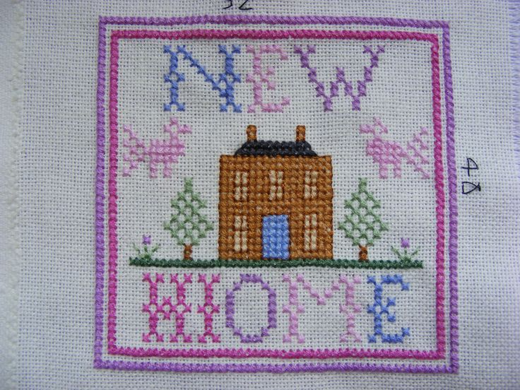Cross stitched new home card - my own design
