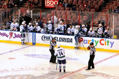 Vancouver Canucks bench. Vancouver Canucks, Florida Panthers, March 16, 2014, BB&T Center