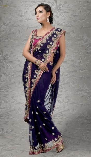 Navy Blue Net Designer Indian Party Wear Saree