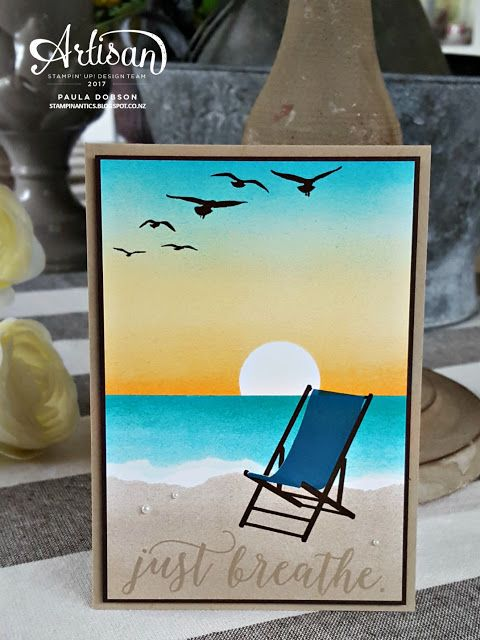 Paula Dobson - Stampinantics. Sit back and relax featuring the new stamp set Colorful Seasons and carry over stamp set, HIgh Tide. Click on the picure to see more of Paula's projects. #pauladobson #stampinantics #colourfulseasonsstampset #hightidestampset #artisandesignteam