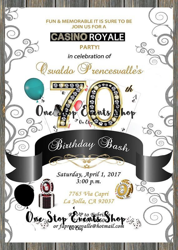 Diamond Number Casino Birthday Party Invitation  30th 40th