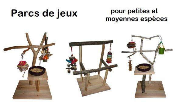 parcs de jeux pour perroquets for parakeets and parrots  - perches, swings and ladders
