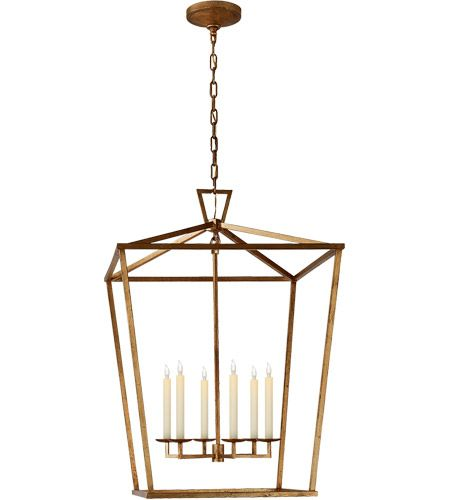 Visual Comfort CHC2177GI E F Chapman Darlana 6 Light 29 Inch Gilded Iron Foyer Lantern Ceiling EF Extra Large