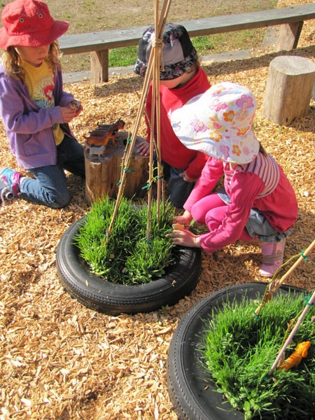 i like this idea for a little extra garden space for the kids to plant in - Garden Ideas Using Tyres