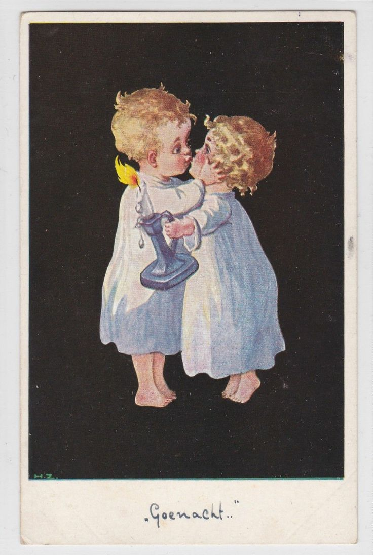 Vintage 1930s The Goodnight Kiss Artist Signed Child ...