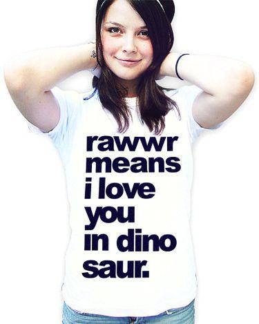 Sag es mit dem Shirt: Ich liebe Dich in Dinosprache / say i love you in dinosaur, shirt fashion made by cute monstR via DaWanda.com