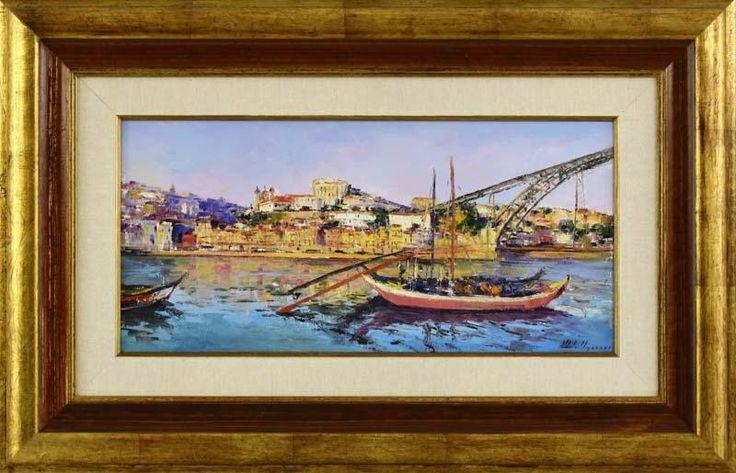 """Lote 6007 - MOTA URGEIRO (n.1946) - Original - Pintura a óleo sobre tela, assinada, título """"Ribeira - Porto"""", com 24x50 cm (moldura com 47x73 cm). Óleo deste autor foi vendido por € 3.400 numa leiloeira em Lisboa. Nota: Mota Urgeiro é considerado o expoente máximo do impressionismo em Portugal, como reconhecimento pela qualidade artística das suas obras de arte, foi premiado com medalha de Ouro da Sociedade Nacional de Belas Artes em 1973 - Price Estimate: € - $"""
