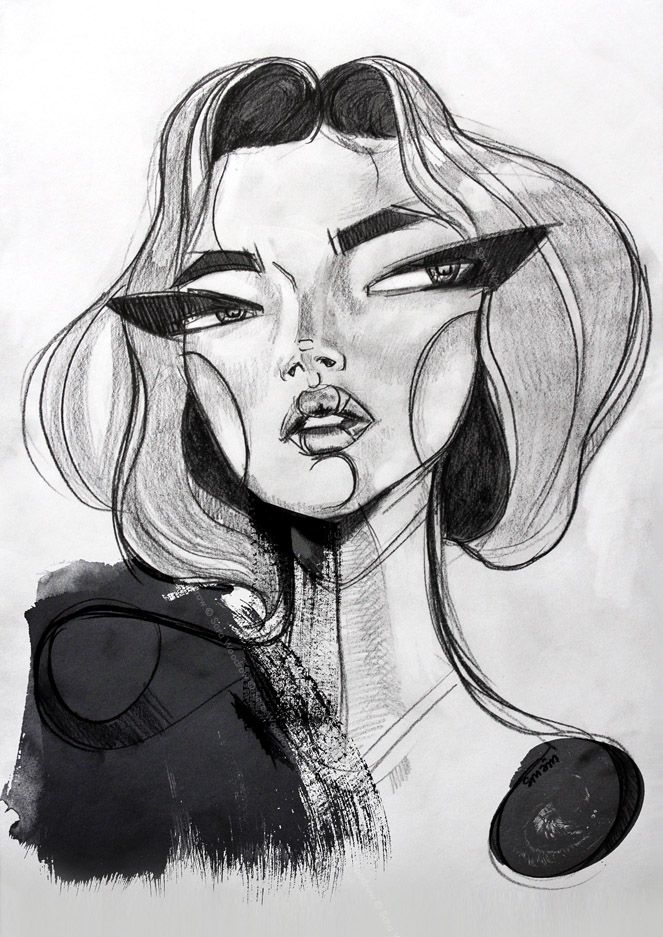 'Diva lady' by SMÄM, Sweden, 2012, pencil and inkEduardo's graphite class. The exaggeration of the eyes, organic line work, textured work by paint.