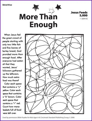 jesus feeds the five thousand coloring page | Reprinted from: Bible Puzzles for Kids Ages 6-8. Cincinnati: Standard ...