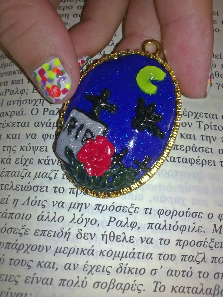 Handmade fimo jewellery   Nightmare at a cemetery cameo necklace!!