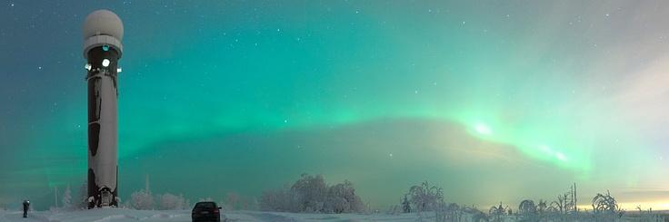 Northern lights at Oinosenmäki weather radar station in Kuopio, Finland.