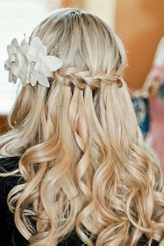 Flowing hair plus simple plait and flower detail (IF my hair is long enough by then!)