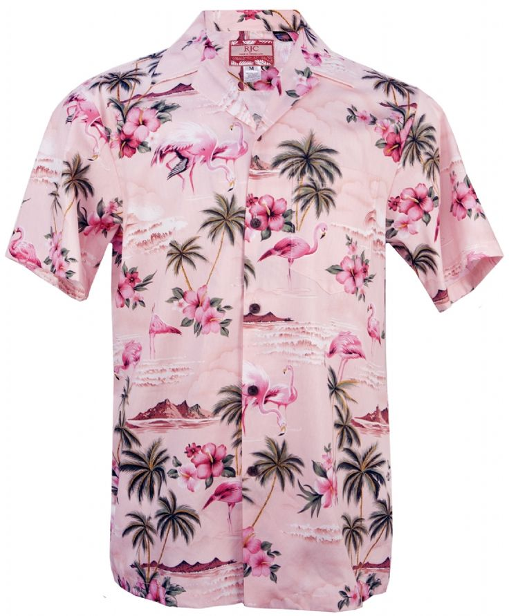 Pink Flamingo Mens Hawaiian Aloha Shirt in Pink, Mens Hawaiian Shirts Clothing, 102C-275-Pink - Paradise Clothing Company