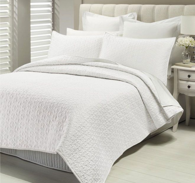 Savoy Antique White LUX - Features: Polyester Sateen.  Set Contains:x1 Queen to King Bed Coverlet - 220cm x 250cm x2 Standard Pillow Shams - 48cm x 74cm - #coverletsandcomforters
