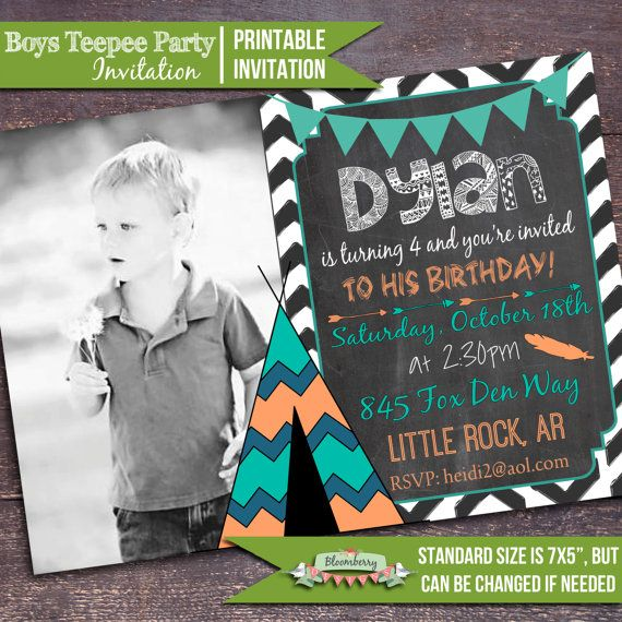 Boys Teepee Party Invitation, Boys Tribal Party Invitation, Boys Camp Party Invitation, TeePee Invitation by Bloomberry Designs