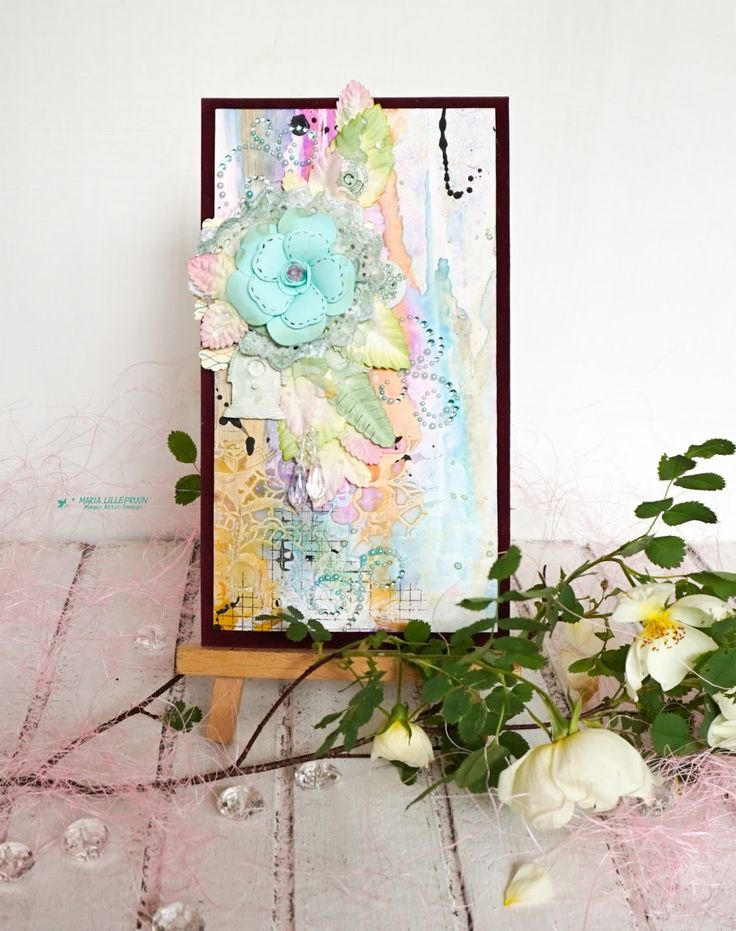 Handmade mixed media feminine card by Maria Lillepruun