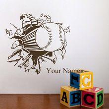 Client-fait Personnalisé Garçons Nom Avec Baseball Softball Sport Wall Sticker pour Enfants Chambres Amovible Enfant Stickers Muraux Décoration(China (Mainland))