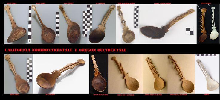 Cucchiai intagliati Yurok, Karok e Hupa in corno di wapiti (elk o alce americano) usati dagli uomini per mangiare.