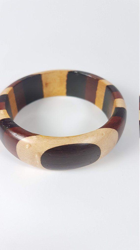 Wide Wood bangle jewelry bangle wooden jewelry gift for her bracelet Exotic wooden bracelet wood jewelry Segmented wood bracelet