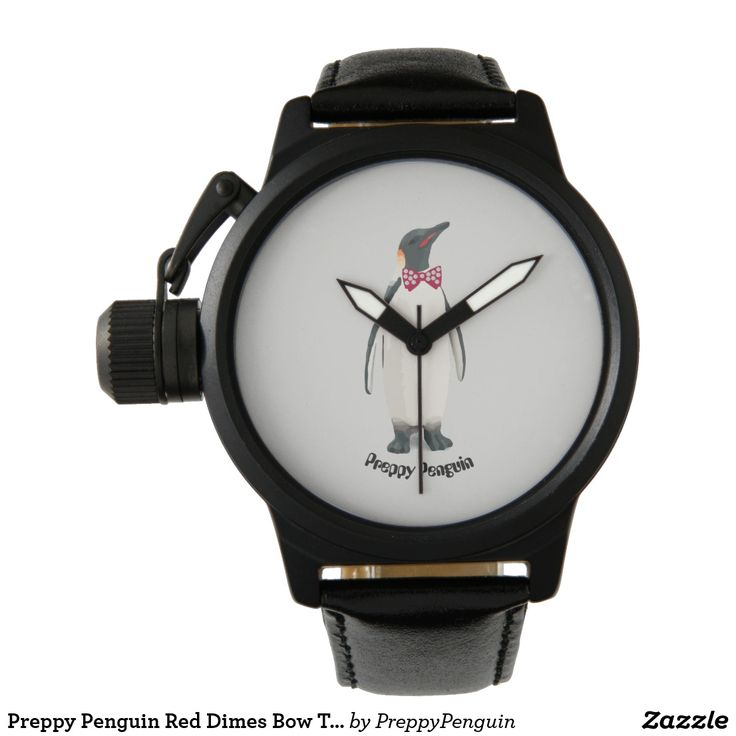 Preppy Penguin Red Dimes Bow Tie Men's Watch
