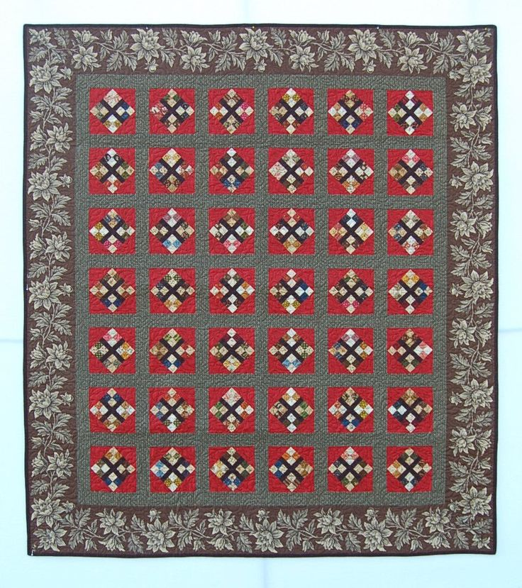 """Quilts, Handmade patchwork quilt for sale, """"Jo's Four Patch"""" is pieced with Civil War Reproduction Fabrics/Traditional Quilt/Lap Quilt by MyCottonandThread on Etsy"""