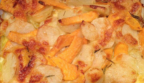 Patate e zucca con mozzarella filante al forno
