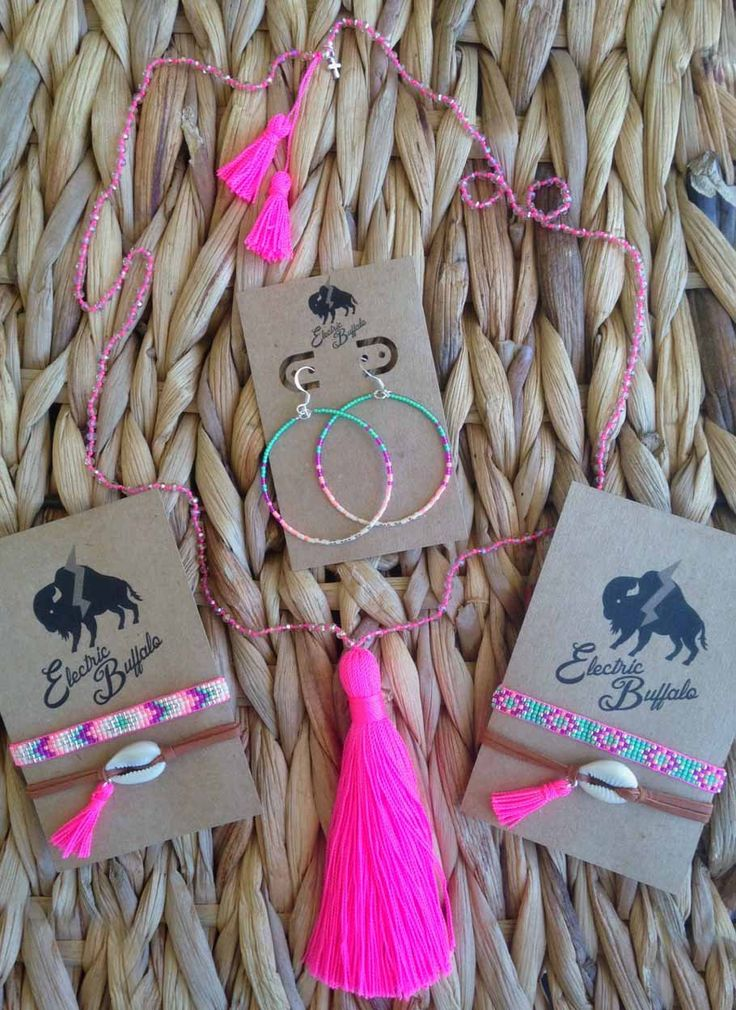 Neon Pink Tassel Necklace by ShopElectricBuffalo on Etsy