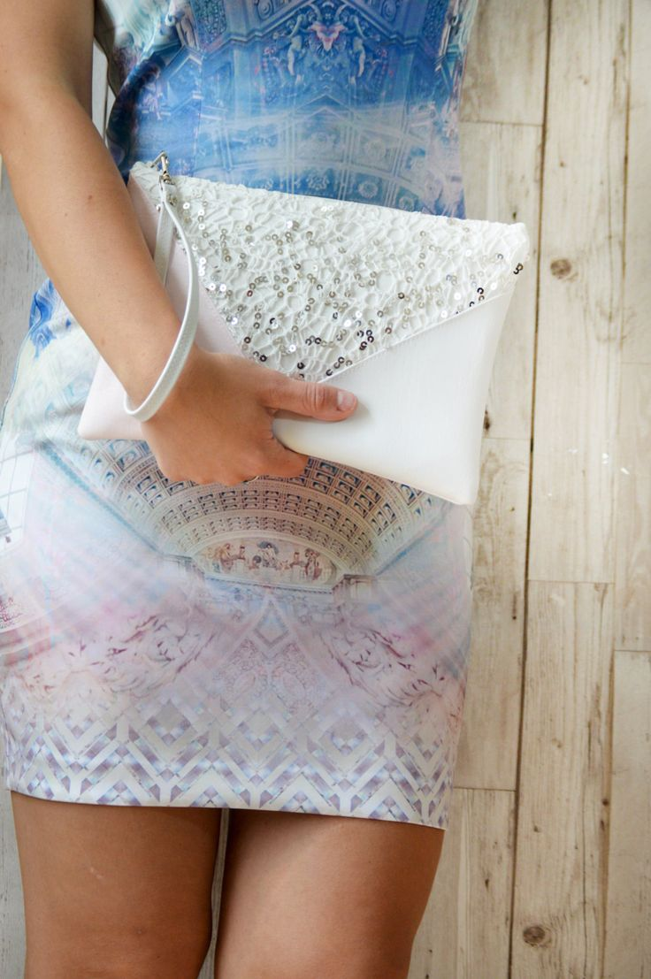 White clutch bag, Sequin clutch purse, Pink clutch, Vegan leather clutch, Wedding clutch, Wristlet clutch, Bridesmaid gift bag, by Melifluo on Etsy