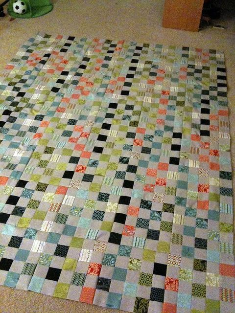 Postage Stamp Quilt top is finished! by JennyGoLightly, via Flickr