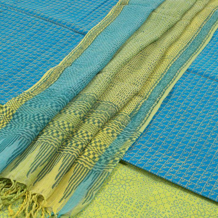 Buy online Hand Block Printed Blue Cotton 3 Piece Salwar Suit Material With Uttarkhand Cotton Dupatta 10013229