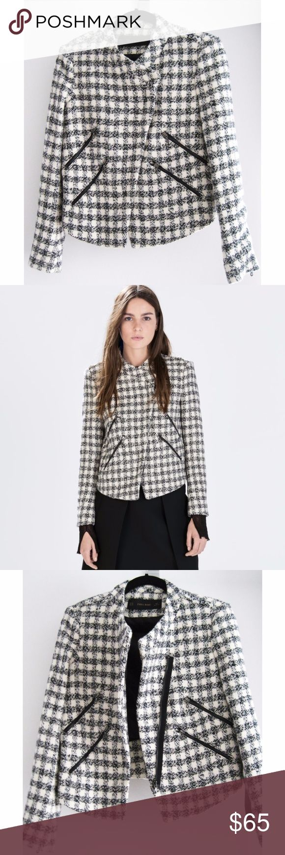 """NWT Zara Tweed Checkered Moto Jacket Sz XS A cozy black and white checkered tweed moto jacket with an asymmetrical center front zip closure. Features 4 front diagonal zip pockets, 1 zipper on each back sleeve, and frayed details on the shoulder and back. Fully lined. New with tags, never worn. Smoke/pet-free home. Free free to ask questions! Open to reasonable offers! Measurements:  Across Shoulder (ah seam to ah seam): 16"""" Bust Circum (1"""" blw ah): 36"""" Waist Circum (6"""" blw ah): 34 ½"""" Slv…"""