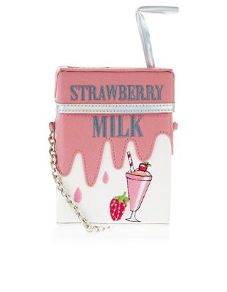 Bring a little extra sweetness to your look with our novelty strawberry milk carton across-body bag, designed with a 3D straw appliqué, an embroidered milkshake and an adjustable shoulder strap.