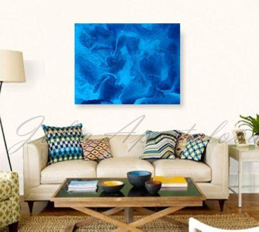 JuliaApostolova - Blue abstract art #home #design #homedesign #paintinh #interior #art #sisustus #taide #taulu #sisustaminen #sisustusidea #interiordesign #inredning