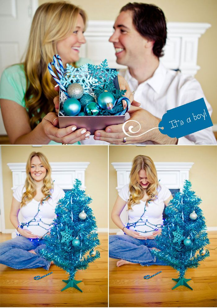 Cute Christmas card idea to announce the gender :) Doing this!