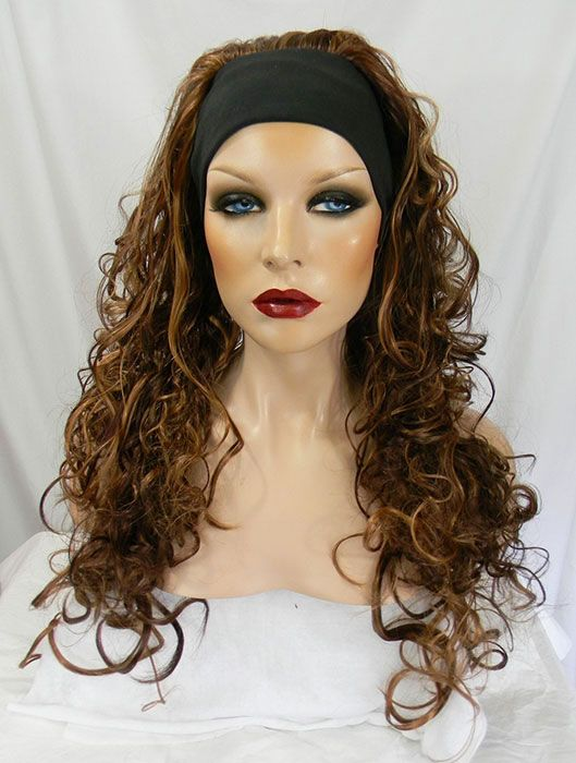 Headband wig, Loose curls, Dark Auburn, Strawberry Blonde