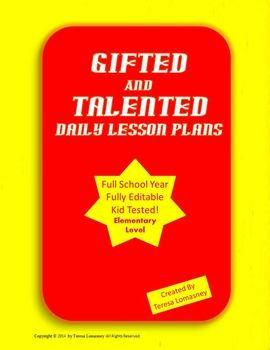 Gifted and Talented Lesson Plans for a full school year!  Kid tested in the elementary gifted education classroom!  Lesson plans are based on Everyday Mathematics gr. 7, literature circles of children's novels, experiments, workstations/centers, research, and the writing processStudents become successful and motivated, while teachers rest assured of having quality plans.These plans can really help, when you are a new teacher, a student teacher, or you just need some fresh ideas.Lessons are…