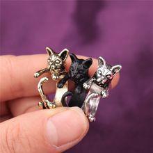 2016 Boho Bonito Antique Bronze Prata Gatos Pretos Anel Feminino Anillos Bague Knuckle Retro Animal Gato Tamanho Dedo Aberto Envoltório anéis(China (Mainland))