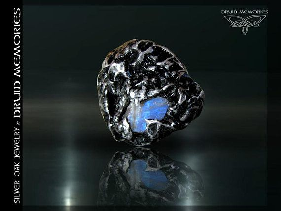 """Moonstone ring """"Moonlight Shadow"""", druid and shaman ceremonial ring. Mens and womens onesize ring."""