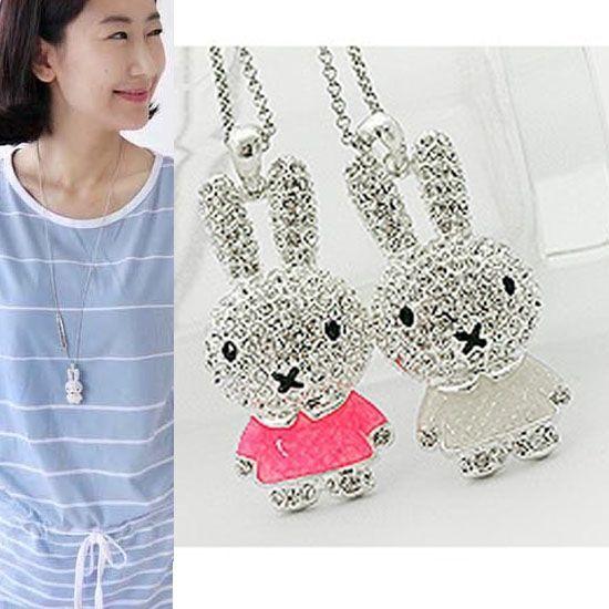 Womens Girls Long Chain Pretty Enamel Rhinestone Rabbit Pendant Necklace Jewelry