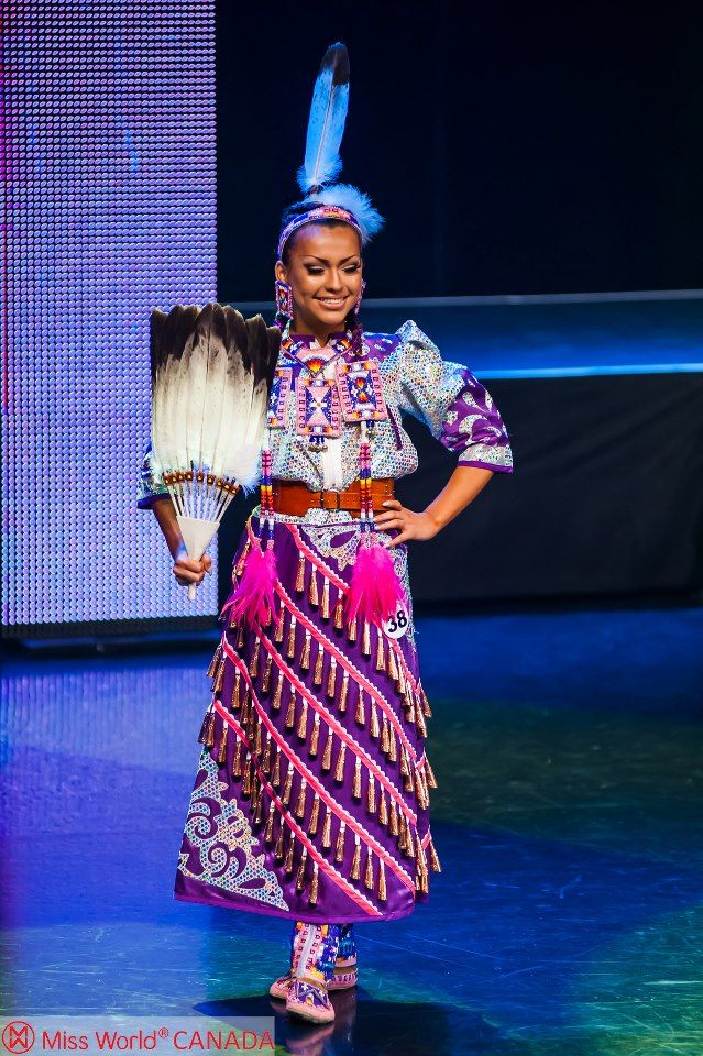 "Urban Native Girl: THE BEST International ""Costume"" was Chayla Delorme Maracle - Miss World Canada 2013 Delegate's jingle dress OBVI.  Miss World Canada 2013    Photo by Kuna Lu 