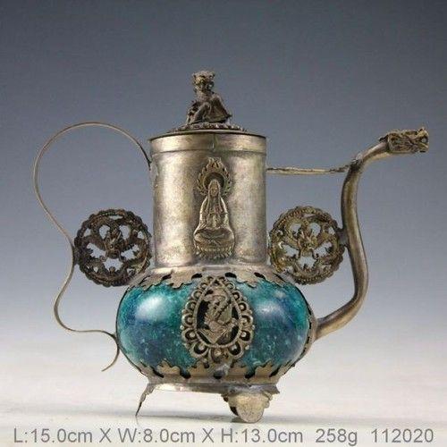 Oriental Silver Jade Dragon Teapot