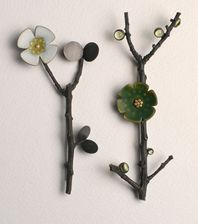 ANNA GORDON-UK-ikebana brooches with white and green enamel