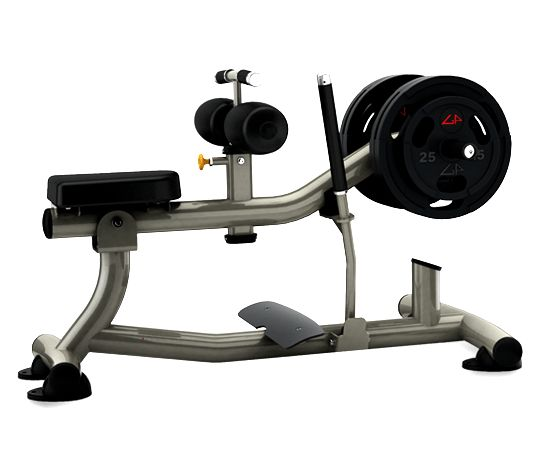 Calf-Machine-for-Exercising-Legs  Description: Lifting the weights at the end by pushing upward with your feet by going on your toes. There are various types of these machines for working out, but the one pictured is by far the most common calf machine in the gym.