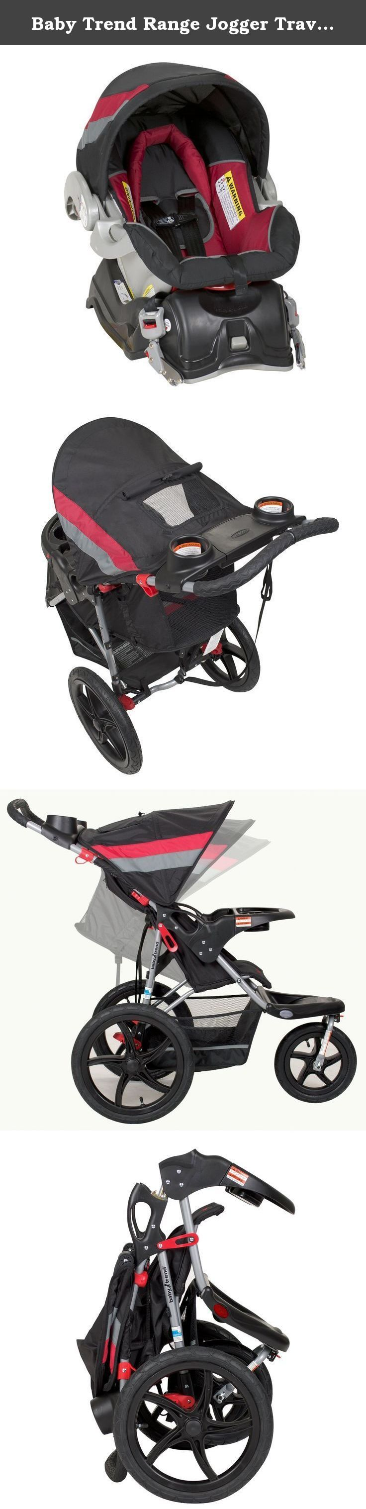 Baby Trend Range Jogger Travel System, Spartan. The Baby Trend Range Jogger switches from running to resting in no time! Locks and unlocks quickly and easily. Safe and secure when you've stopped; easy to maneuver when you're out for a jog. Multi-position, reclining padded seat and fully adjustable 5-point safety harness and tether strap. The Range Jogging Stroller features hi-impact lightweight composite all-terrain wheels. A locking swivel wheel that allows you to lock the front wheel in...