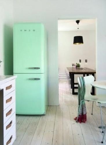 cucina: Mintgreen, Mint Green, Idea, Floors, Dreams, Colors, Interiors, Small Kitchens, Smeg Fridge