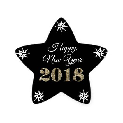 Happy New Year Black White Gold Star Sticker - glitter glamour brilliance sparkle design idea diy elegant