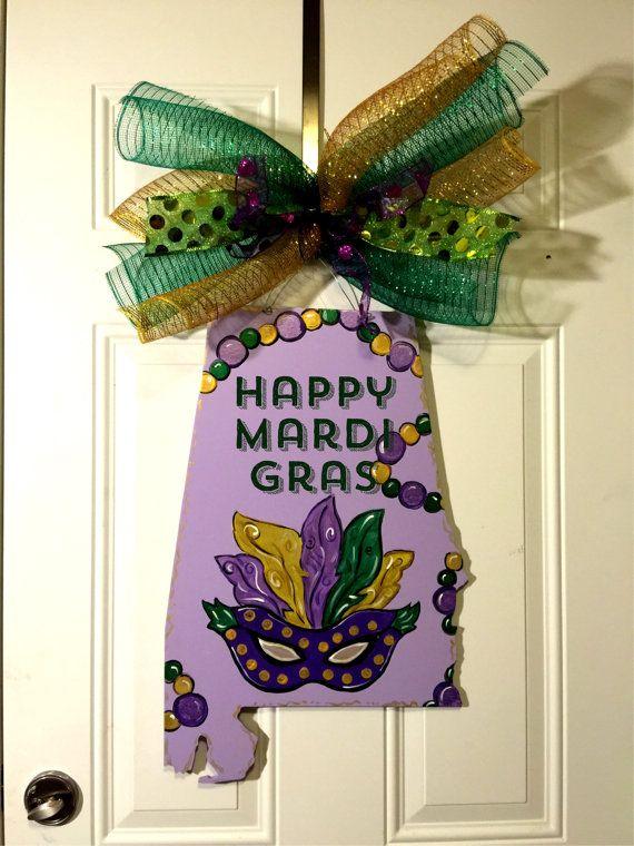 Mardi Gras door hanger,State of Alabama door hanger,jester hat door hanger,Mardi gras mask hanger,Mardi gras wreath,personalized